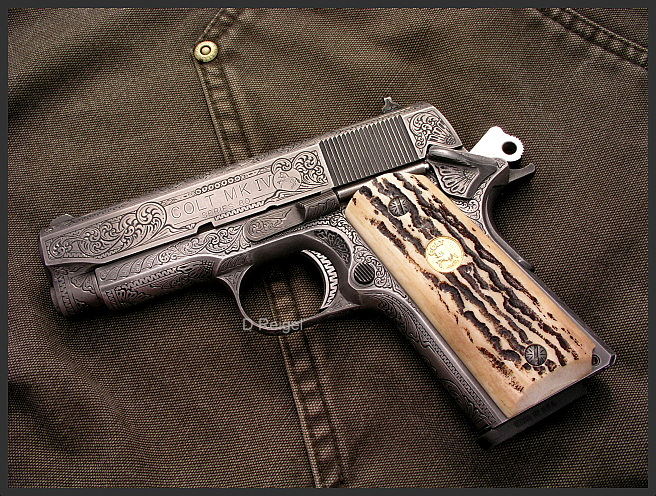 Hand Engraved 1911 Colt Officers Model