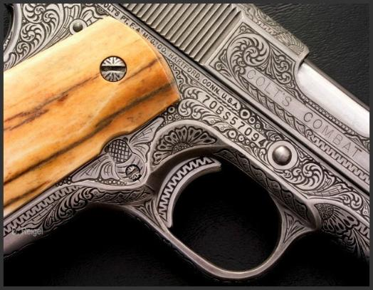 Engraved Colt 1911 45 Automatic, Reigel Gun Engraving
