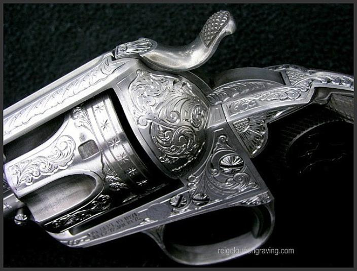Engraved Colt Single Action Army SAA Bisley, by Reigel Gun Engraving