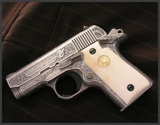 Hand Engraved Colt 380 Mustang
