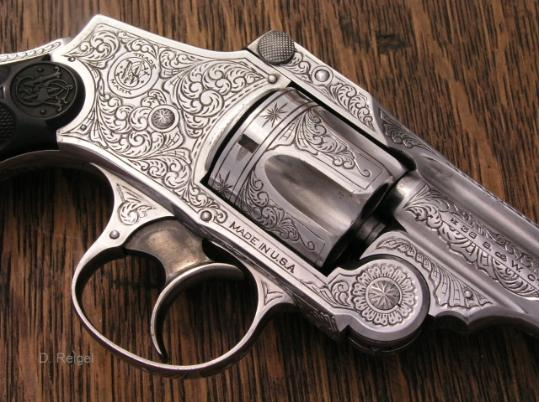 Engraved Smith and Wesson Smith and Wesson New Departure, by Reigel Gun Engraving.com