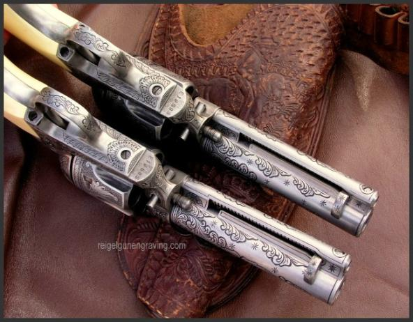 Engraved Western II 45 Colt Peacemaker Model, Reigel Gun Engraving