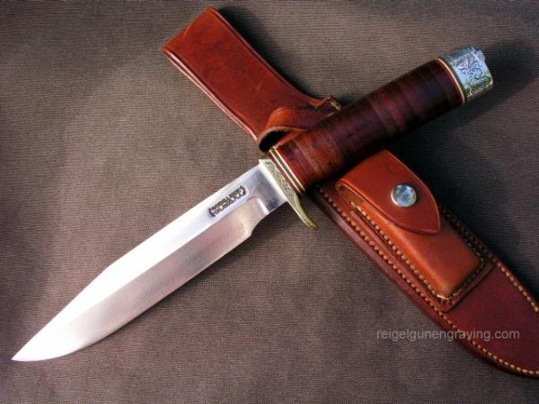 Randall Made Model 5 Camp and Trail Knife engraved by Dennis Reigel