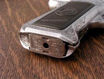 Savage 1907 magazine engraved by reigelgunengraving.com